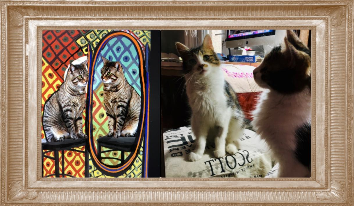 Cat Art Parody by Deborah Julian  - Pablo Picasso's Cat Before A Mirror